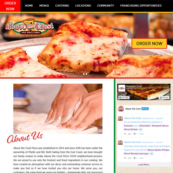 PSD to WordPress Conversion Service Abovethecrustpizza.com