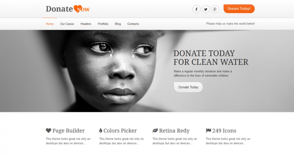 Charity or Nonprofit WordPress Theme