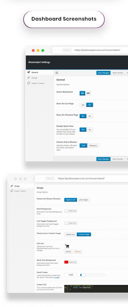 Dashboard captures d'écran